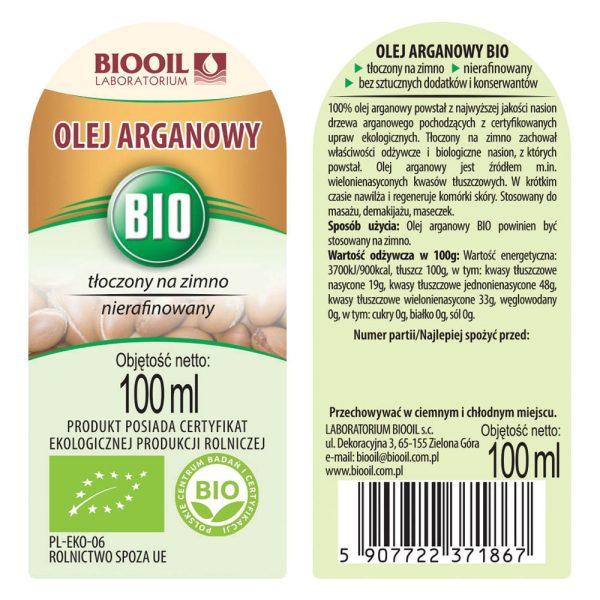 Olej arganowy BIO 100 ml - Etykieta