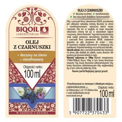 Olej z czarnuszki tłoczony na zimno 100 ml - ETYKIETA