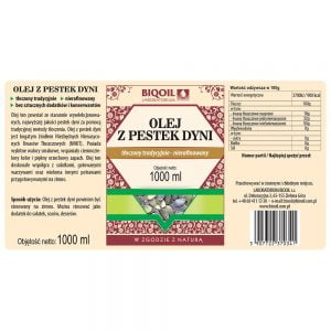 Olej z pestek dyni tłoczony tradycyjnie 1 L - Etykieta