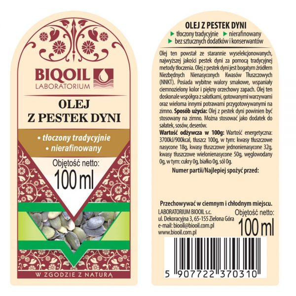 Olej z pestek dyni tłoczony tradycyjnie 100 ml - ETYKIETA