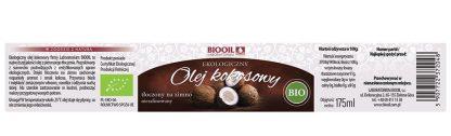 Olej kokosowy nierafinowany BIO 175 ml - ETYKIETA