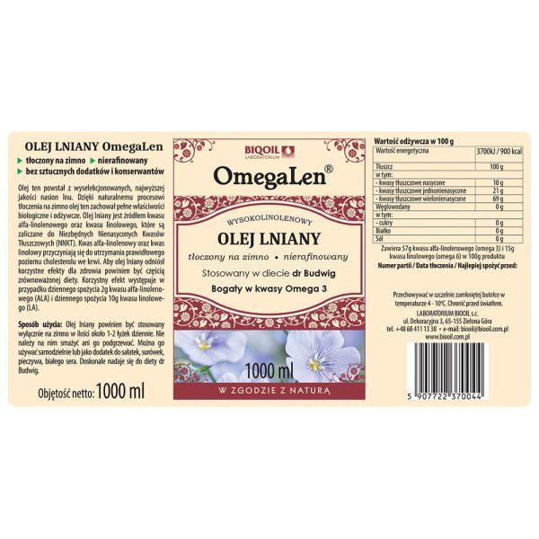Olej lniany tłoczony na zimno OmegaLen® 1 L - etykieta