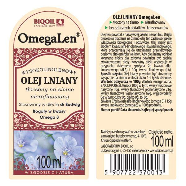 Olej lniany tłoczony na zimno OmegaLen® 100 ml - ETYKIETA