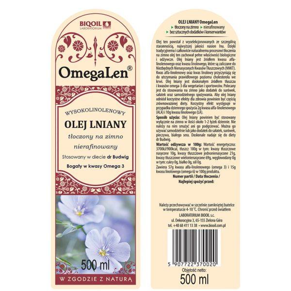 Olej lniany tłoczony na zimno OmegaLen® 500 ml - ETYKIETA