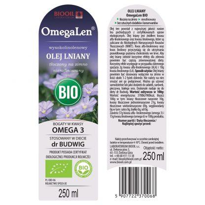 Olej lniany OmegaLen BIO - ekologiczny 250 ml - ETYKIETA