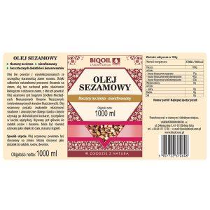 Olej sezamowy 1000 ml - ETYKIETA