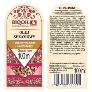 Olej sezamowy tłoczony na zimno 100 ml - ETYKIETA