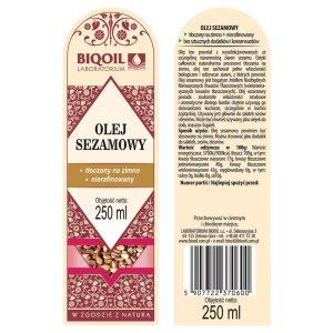 Olej sezamowy tłoczony na zimno 250 ml - ETYKIETA