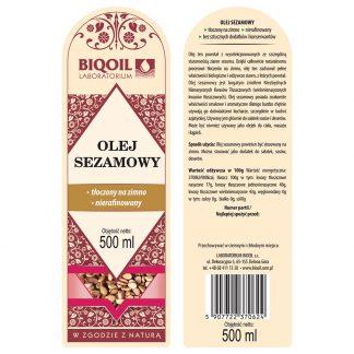 Olej sezamowy tłoczony na zimno 500 ml - ETYKIETA