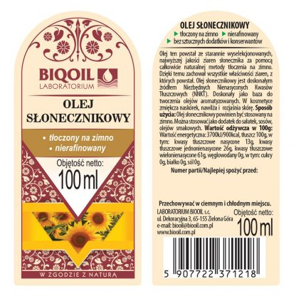 Olej słonecznikowy tłoczony na zimno 100 ml - ETYKIETA