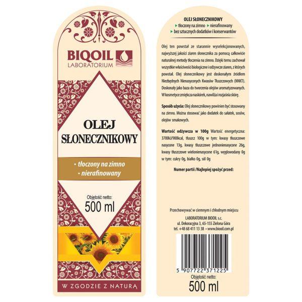Olej słonecznikowy tłoczony na zimno 500 ml - ETYKIETA
