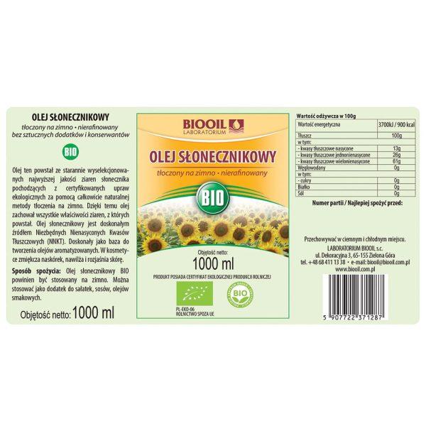 Olej słonecznikowy BIO 1000 ml - ETYKIETA
