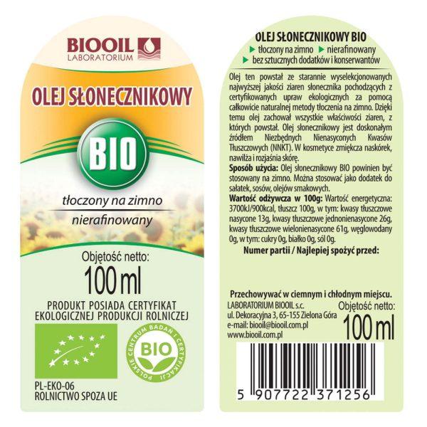 Olej słonecznikowy tłoczony na zimno BIO 100 ml - ETYKIETA