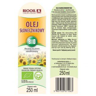 Olej słonecznikowy tłoczony na zimno BIO 250 ml - ETYKIETA