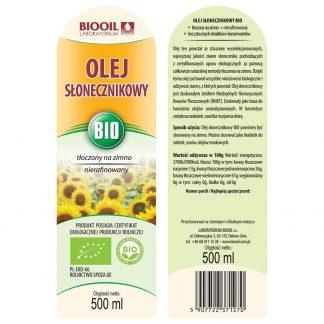 Olej słonecznikowy tłoczony na zimno BIO 500 ml - ETYKIETA