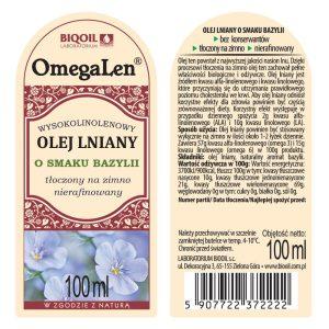 Olej lniany o smaku bazylii tłoczony na zimno OmegaLen® 100 ml - ETYKIETA