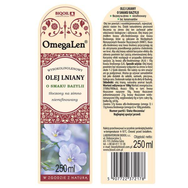 Olej lniany o smaku bazylii tłoczony na zimno OmegaLen® 250 ml - ETYKIETA