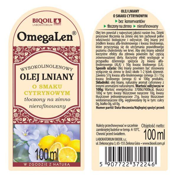 Olej lniany o smaku cytryny tłoczony na zimno OmegaLen® 100 ml - ETYKIETA