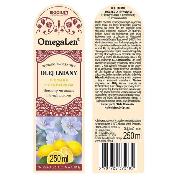 Olej lniany o smaku cytryny tłoczony na zimno OmegaLen® 250 ml - ETYKIETA