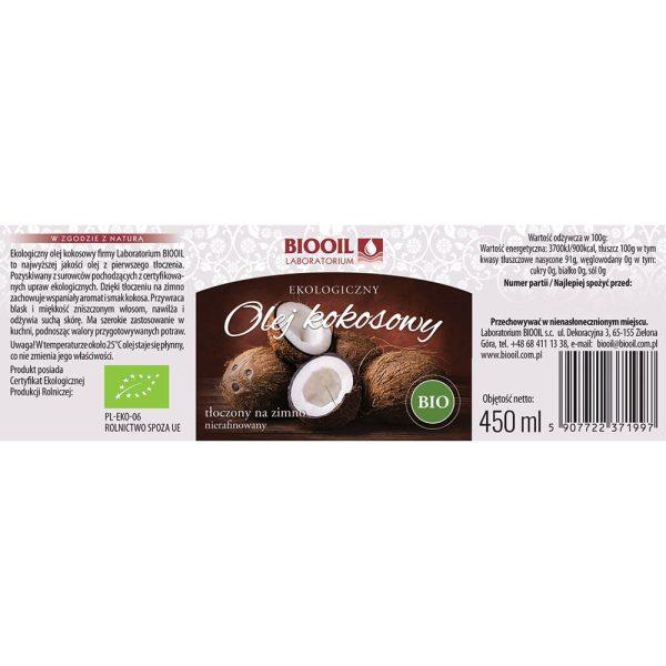 Olej kokosowy BIO tłoczony na zimno 450 ml - ETYKIETA