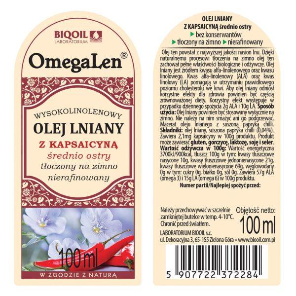 Olej lniany z kapsaicyną średnio ostry tłoczony na zimno OmegaLen® 100 ml - ETYKIETA