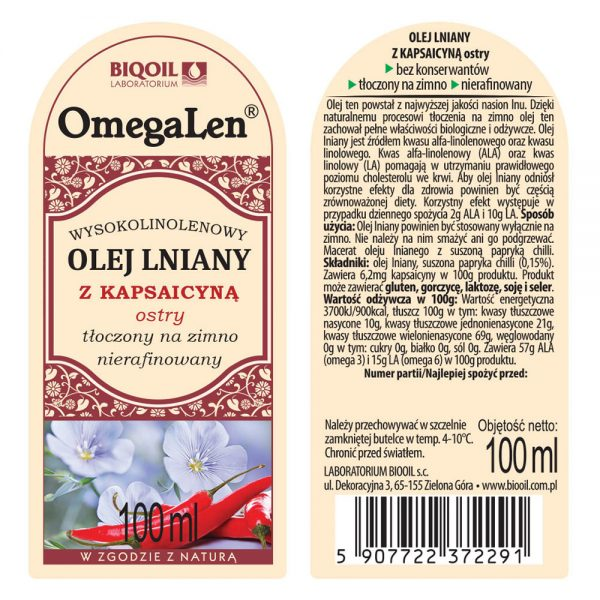 Olej lniany z kapsaicyną ostry tłoczony na zimno OmegaLen® 100 ml - ETYKIETA