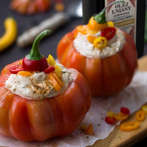 Pieczone pomidory z pastą budwigową