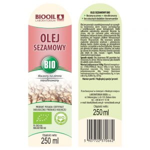 Olej sezamowy tłoczony na zimno BIO 250 ml - ETYKIETA