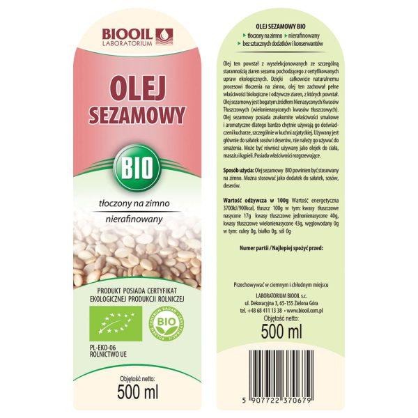 Olej sezamowy tłoczony na zimno BIO 500 ml - ETYKIETA