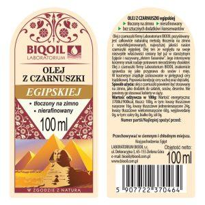 Olej z czarnuszki egipskiej tłoczony na zimno 100 ml - ETYKIETA