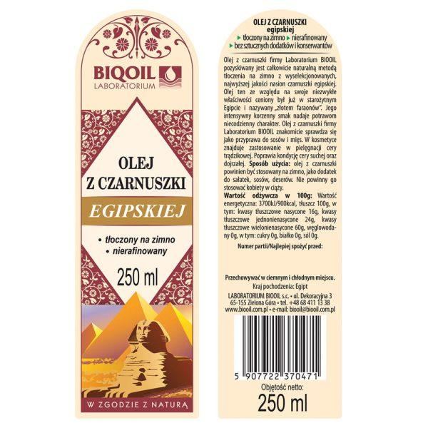 Olej z czarnuszki 250 ml - ETYKIETA