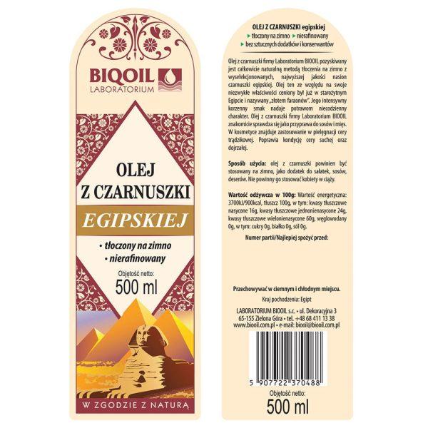 Olej z czarnuszki egipskiej tłoczony na zimno 500 ml - ETYKIETA