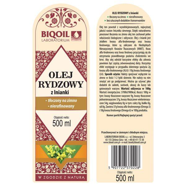 Olej rydzowy / Olej z lnianki 500 ml - ETYKIETA