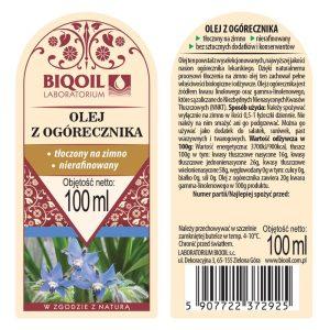Olej z ogórecznika tłoczony na zimno 100 ml - ETYKIETA