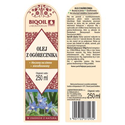 Olej z ogórecznika 250 ml - ETYKIETA