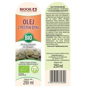 Olej z pestek dyni tłoczony tradycyjnie BIO 250 ml