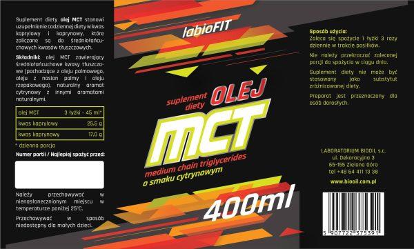 Etykieta olej MCT cytrynowy 400 ml