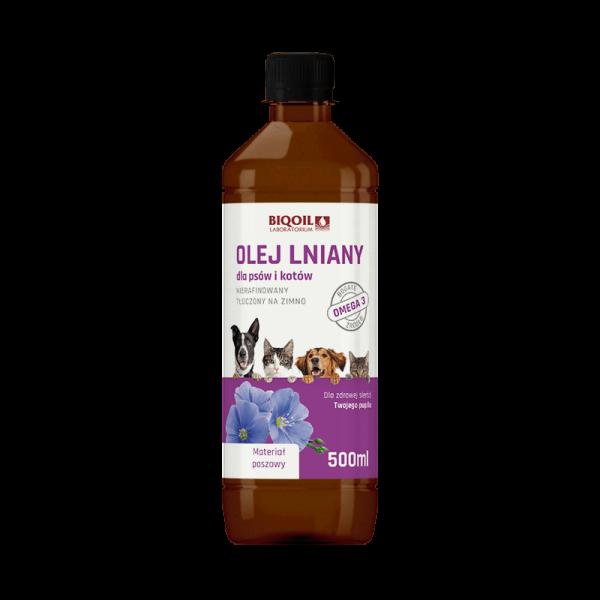 Olej lniany dla psów i kotów, nierafinowany tłoczony na zimno, 500 ml